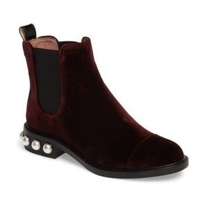 Louise et Cie Velvet Boots with Pearl Detail